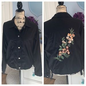 Kate Hill Casual Button Up Embroidered Jacket/Top